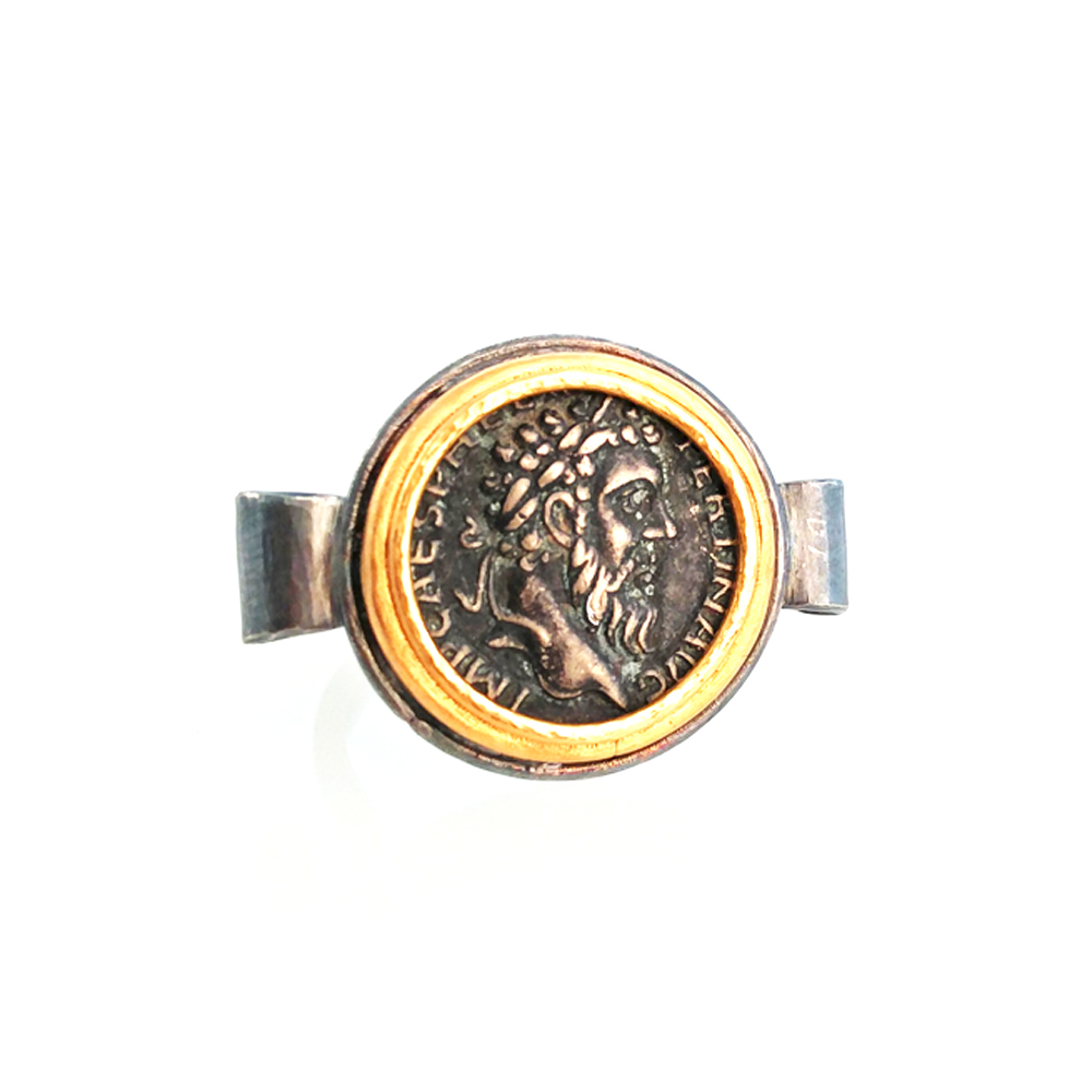 24k gold silver coin ring