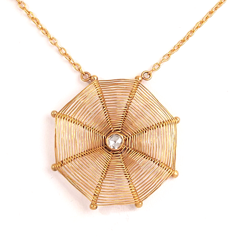 24k gold necklace spider web by mehmet unver