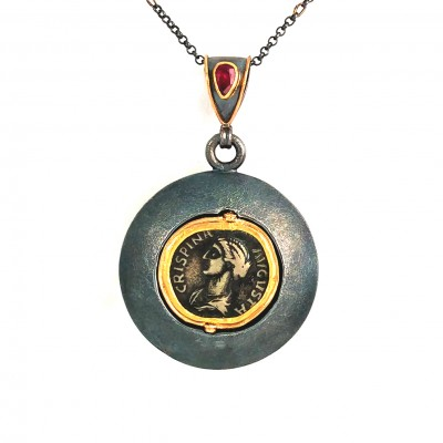 handmade flip coin pendant with ruby
