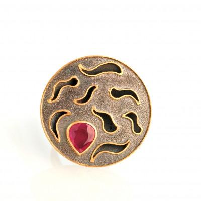 notch ruby ring handmade 24k gold