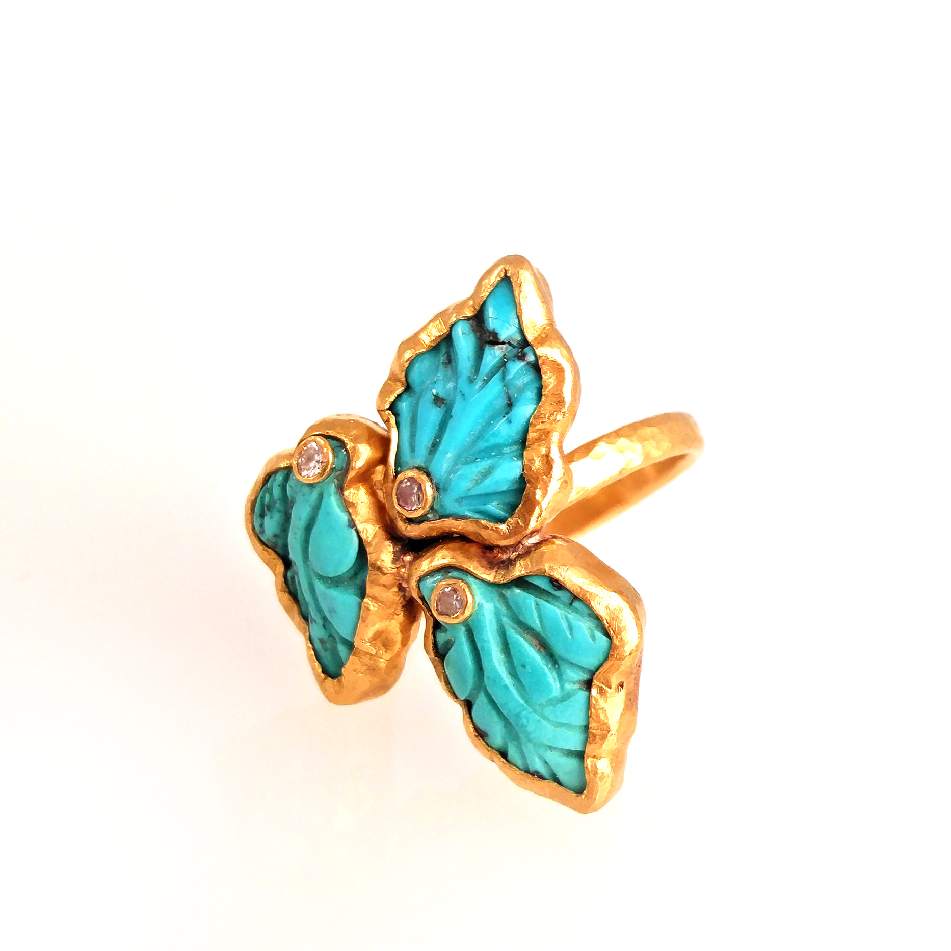 turquoise leaf 24k pure gold ring with diamond hand crafted