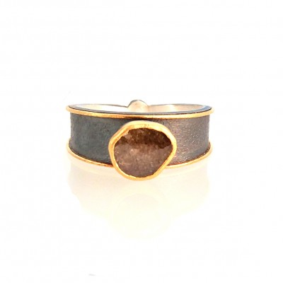 natural diamond ring silver and 24k gold