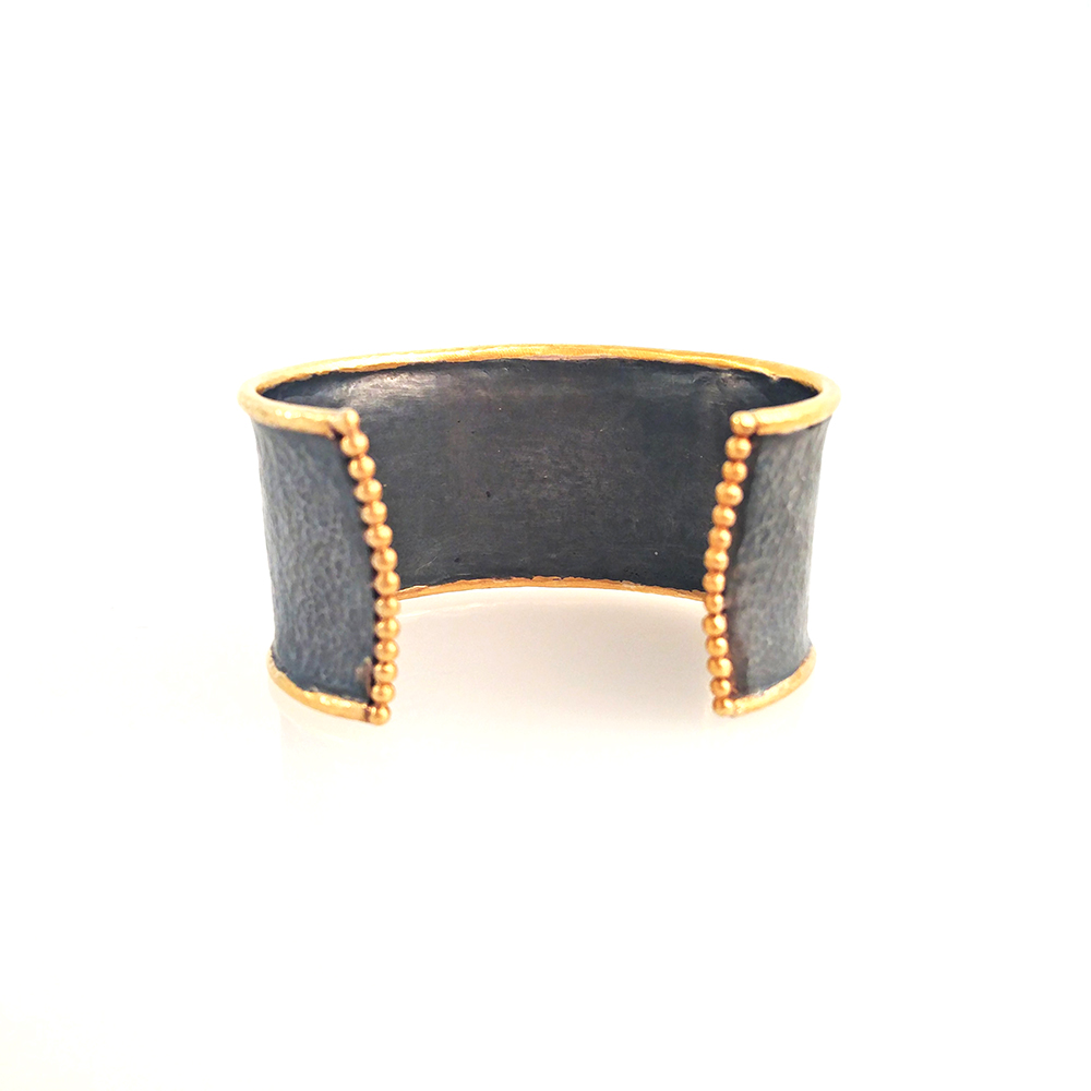 cuff bangle with gold balls at the end mehmet U.