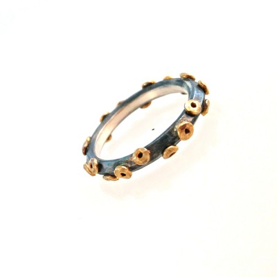 24k gold with silver circle ring